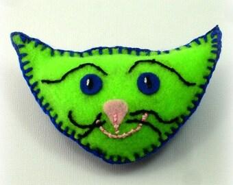 Catnip Toss Toys, Felt Cat Toys, Bright Green Cat Head, Cat Heads, Quirky Cat Toys, Handmade Cat Toys - Neon Green and Cobalt Blue Felt