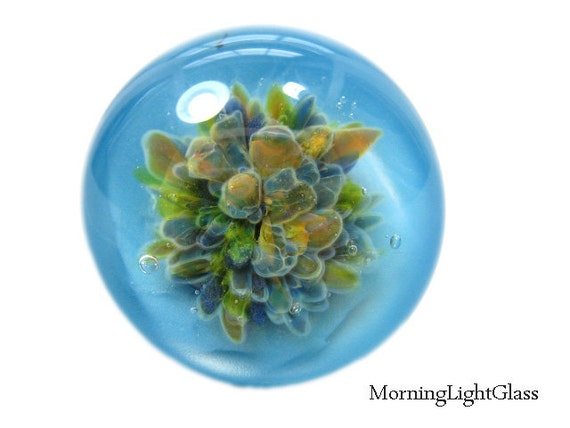 Glass Cabochon Bead Sky Blue,  Frit Implosion Jewelry Supply