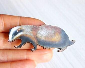 Woodland Badger Pin/Brooch