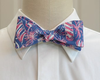 Men's Bow Tie, blue Cherry Bomb Lilly bow tie, blue, pink fireworks bow tie, wedding bow tie, 4th July bow tie, Independence Day bow tie,