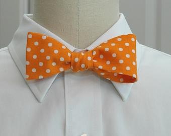 Men's Bow Tie in orange with white polka dots (self-tie)