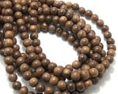Robles Wood, Round, 8mm, Smooth, Natural Wood Beads, Full 16 Inch Strand, 50pcs - ID 1406