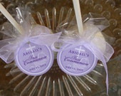 "First Communion Custom Catholic Favor Tags - For Cake Pops - Cookies - Lollipops - Party Favors - 24 1.5"" Personalized Circle Printed Tags"