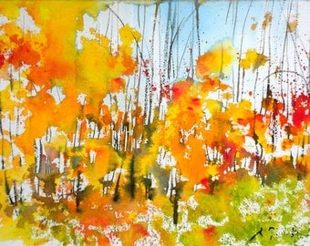 New England Fall-Scape No.11, limited edition of 50 fine art giclee prints from my original watercolor