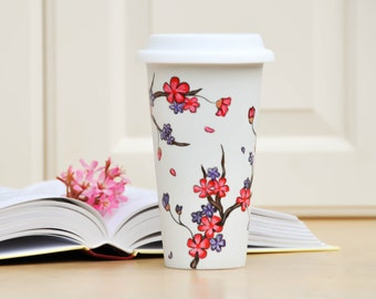 Pink Purple Cherry Blossoms Ceramic Travel mug - Made to Order Hand Painted sakura eco-cup -  Valentine's  Day Gift Commuter cup with lid
