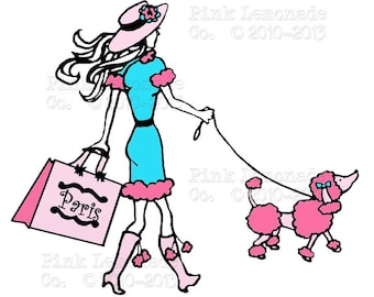 INSTANT DOWNLOAD Paris Poodle Shopping Lady Digital Graphic Collage Sheet Pink Turquoise