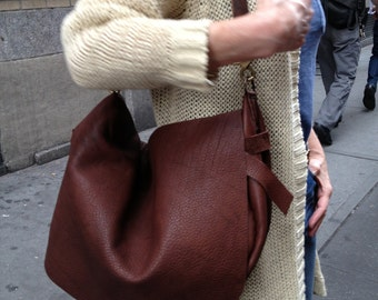 Leather crossbody hobo bag, Brown leather hobo bag handbag purse, Soft leather slouchy hobo shoulder satchel crossbody handbag, Handmade