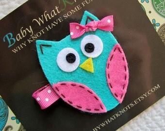 Owl Hair Clip, Blue Owl Hair Clip, Baby Hair Clippies, Owl Barrette