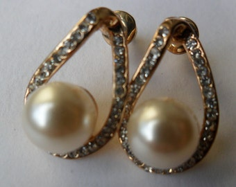 Ready to ship-  Gold plated Pearl stud Drop  with Crystal Rhinestones Earrings