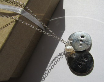 Lovely MoM,Dad Silver Disc with White Potato Fresh Water Pearl Sterling Silver Necklace