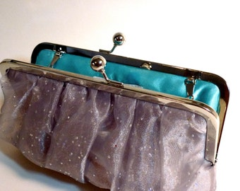 Bridal Clutch or Bridesmaid Clutch Silver Organza Gathered Clutch Customize