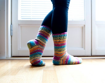 Hand knit socks - parrot. Stripes in neon pink, green, turquoise, orange and yellow.