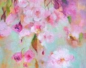 JAPANESE CHERRY  Original Abstract Painting on stretched Canvas 12 x 12