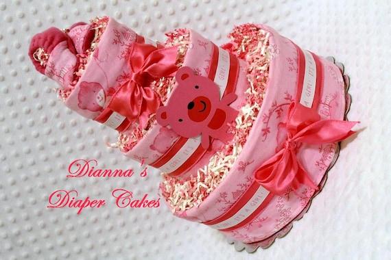 Baby Diaper Cake Hot Pink Teddy Bears Handmade Booties