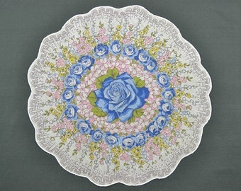 VINTAGE HANKIE, Blue Roses on White, Round, Scalloped Edge, Corded, Pink Green Accents, Pocket Hankie, Excellent Condition