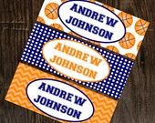 Personalized Waterproof Labels Waterproof Stickers Name Label Dishwasher Safe Daycare Label School Label - Basketball, 30 piece set