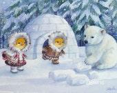 Baby Polar Bear Print Eskimos Igloo 8x10 Ferdinand and Nina Story Art by Janet Zeh
