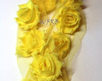 """Yellow  Petite Shabby Rose Trim - Shabby Flowers - Chiffon Flower - 1 1/2""""  Shabby Flowers - Wholesale Shabby Flowers"""