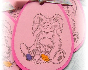 Easter Bunny with Basket - Happy Easter- Bunny Tags - Bunny Rabbit - Easter Tags (8) OOAK