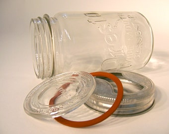 Vintage canning jar, Widemouth Glass Top Presto quart jar canister for fruit, candy, nuts, cookies, candle, flowers, centerpiece, gift idea
