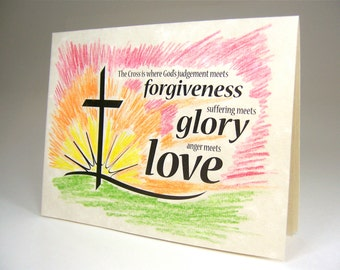 Christian religious events card for baptism, Easter, confirmation, first communion, gifts, Jesus Christ, forgiveness glory love, black print