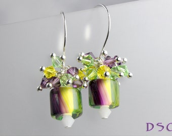Yellow Purple and Green Cluster Earrings Cane Glass Swarovski Crystal Bold Colors