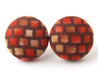 Orange brown stud earrings - fabric button earrings - brick wall Pink floyd - fall autumn