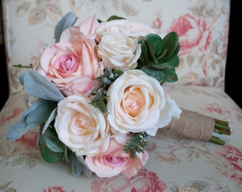 Pink Rose Wedding Bouquet - Peach and Pink Rose, Lamb's Ear, and Succulent Burlap Wedding Bouquet
