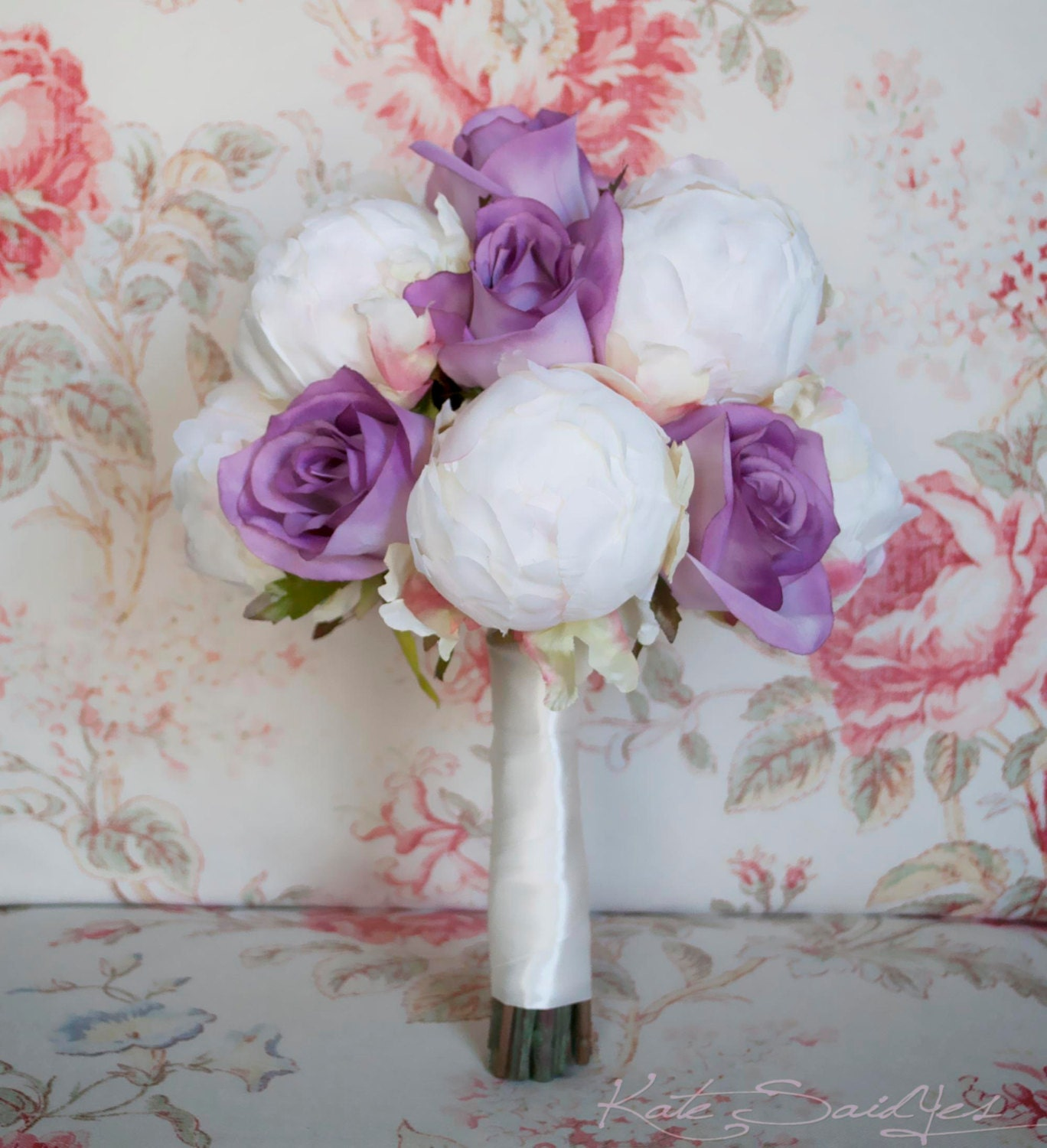 Ivory And Lavender Wedding Bouquet Ivory Peony And Lavender