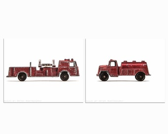 Vintage Toy Fireman Watering Truck and Fire Engine Set of Two Photo Prints, Fireman, Boys Room decor, As Seen in POTTERY BARN CATALOG,