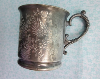 antique silver plate child's cup
