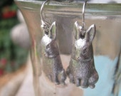 Rabbit Earrings, Antiqued Silver, Steampunk, Woodland, Bunny Earrings, French Ear Wires, Animal Jewelry, Animal Earrings, Rabbit Jewelry