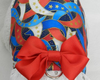 PEACE July 4th Patriotic Red White Blue Ribbon with Lace & Bow. Custom made for your Cat, Dog or Ferret.