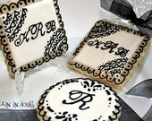 Wedding Cookies, Monogram Cookies, Monogram Wedding Cookies.- 1 Dozen