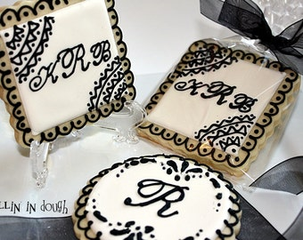 Wedding Cookies, Monogram Cookies, Monogram Wedding Cookies.- 1 Dozen