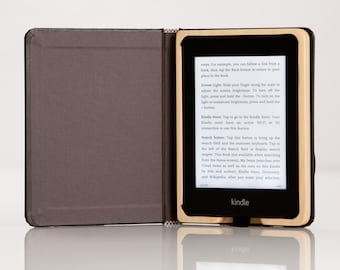 The Kindle Paperwhite Case - Onyx Black with French Roast Interior