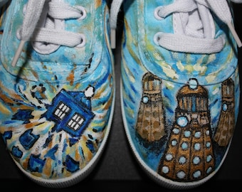 Doctor Who Sneakers Shoes Handpainted Daleks Exploding Tardis Van Gogh swirls Any shoe  Toms Vans Any size Any shoe dr who