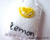Felt bookmark, lemon teabag