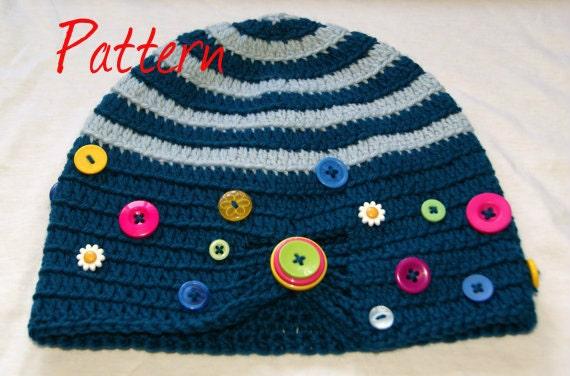 Crochet Pattern Notation : Button Box Beanie PDF crochet pattern UK notation