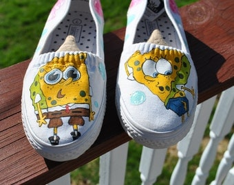 Funny  Sponge Bob Square Pants Hand Painted Shoes size 7 - SOLD