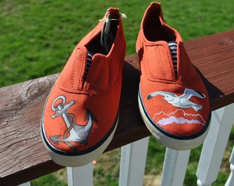 ON SALE Pretty Beach Hand Painted Sneakers size 7