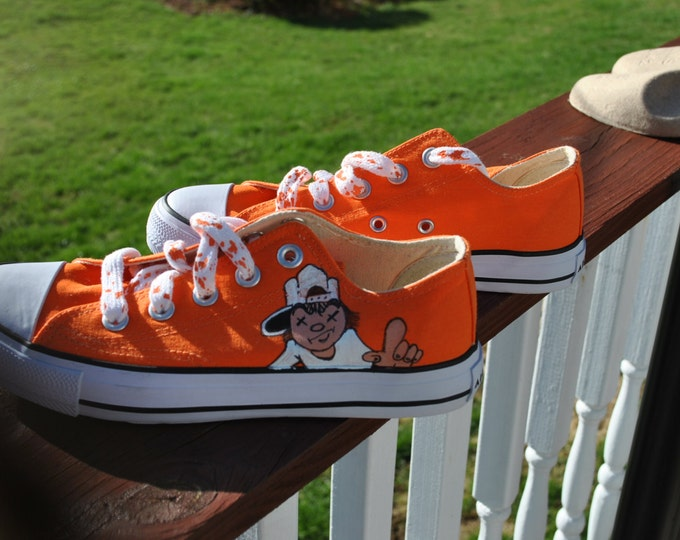 For Sale Funky Orange Hand Painted Airwalk Sneakers size 6w or 4 boys