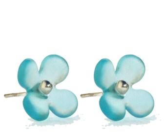 Hydrangea Flower Stud Recycled Glass Earrings Bombay Blue.