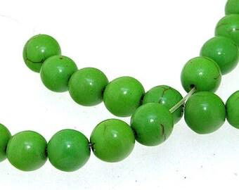 Charm 8MM Round Green Apple  Howlite Turquoise Gemstone Beads One Strand