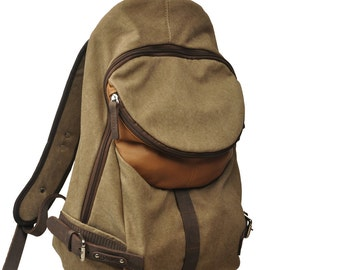 Italian canvas -leather backpack, Nota in light brown with noce color details