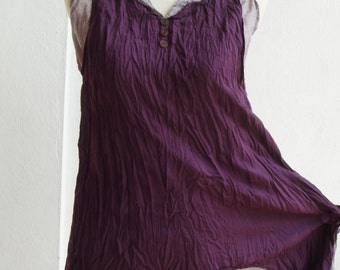 B5, Prune Purple Two Tone Two Layers Sleeveless Violet Cotton Blouse