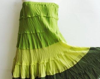 S2, Wavy Summer Spring Green Cotton Skirt, green skirt
