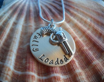 Guns Pistol Protection Police Personalized Hammered Metal Jewelry Necklace Uniquely Impressed