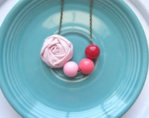 Girl's Pink Ombre fabric flower beaded necklace