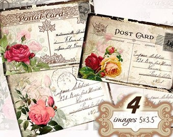 Vintage postcard with roses 5x3.5 inch Greeting Cards Shabby chic paper scrapbook gift tags (352) Buy 3 - get 1 free
